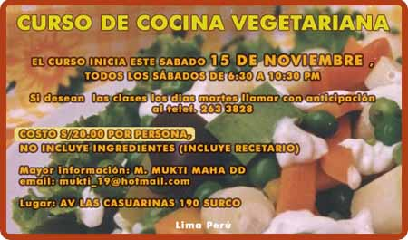 Istagosthi virtual curso de cocina vegetariana lima peru - Curso de cocina vegetariana ...